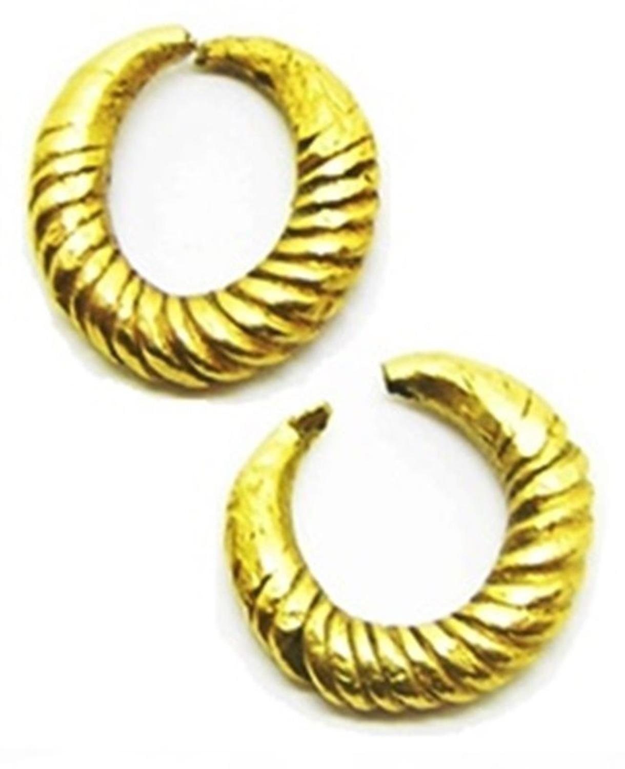 Middle Bronze Age Gold Bar Twisted Earrings Ring Money