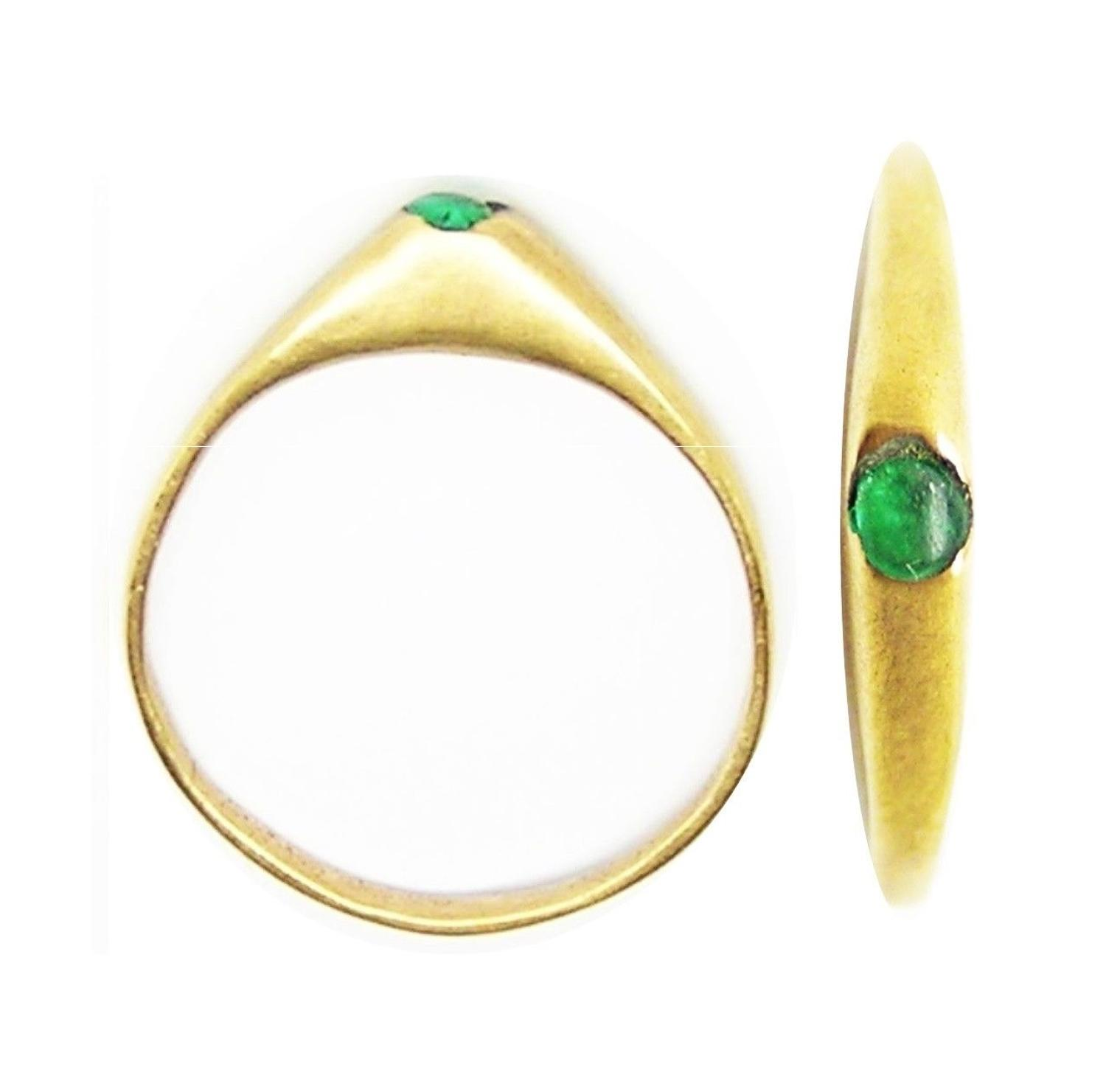 Medieval Gold & Emerald Paste Stirrup Ring