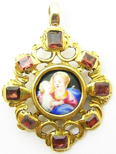 Gold & Ruby Jewelled Pendant of the Virgin