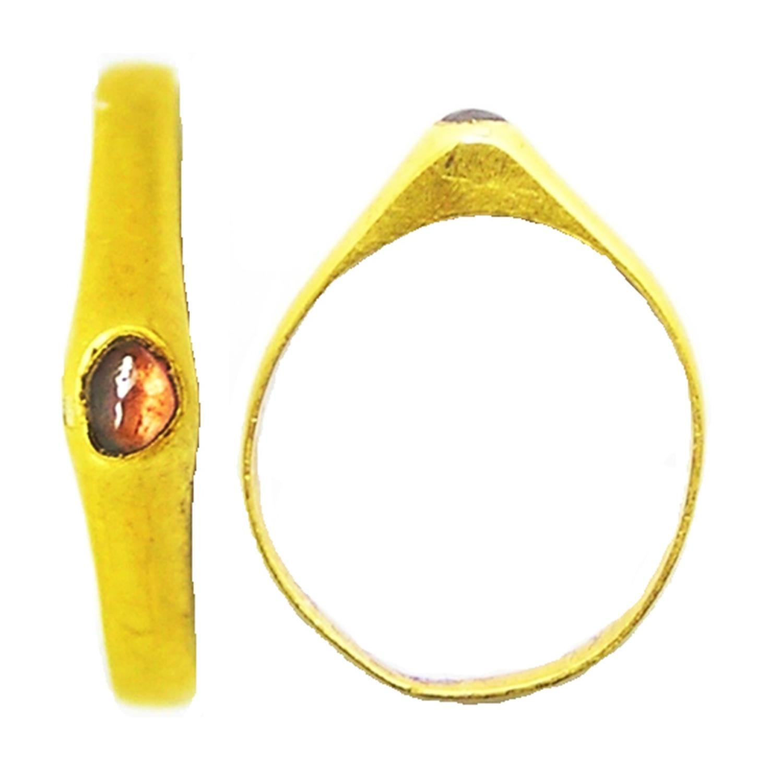 Medieval Gold & Ruby Stirrup Ring