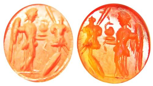Ancient Roman Carnelian Intaglio of Victory & Trophy