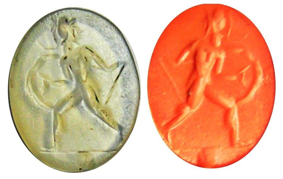 Ancient Roman Republican Rock Crystal Intaglio of Romulus Warrior