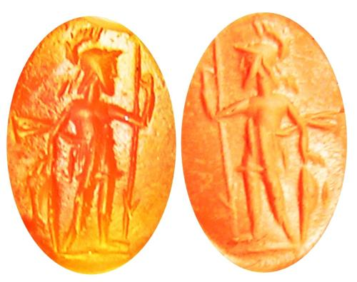 Ancient Roman Carnelian Gem Intaglio of Virtus Courage
