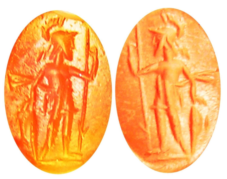 Ancient Roman Carnelian Gem Intaglio of Virtus Courage