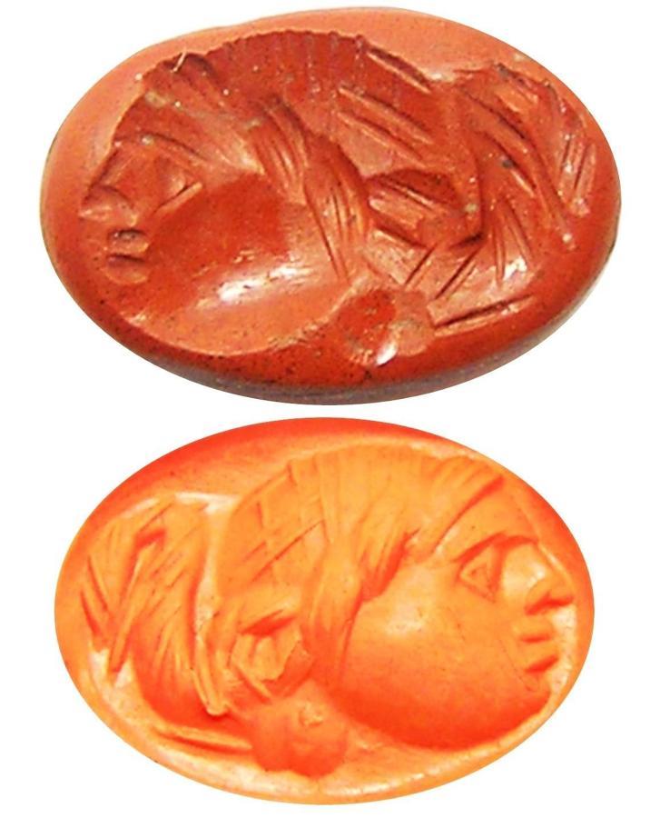 Ancient Roman Jasper Intaglio of a Head / Magical Spirit Gem