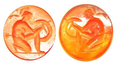 Ancient Roman Carnelian Intaglio of a Greek Hero / Hoplite