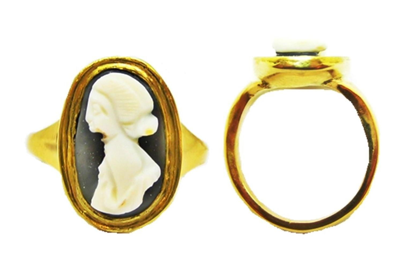 Ancient Roman Hardstone Cameo of Julia Mamaea 18k Gold Ring