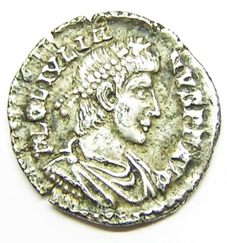 Ancient Roman Silver Siliqua of Julian II Struck at Lyons France