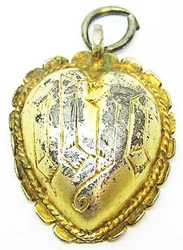 English Tudor Silver Gilt Devotional Heart Pendant IHC