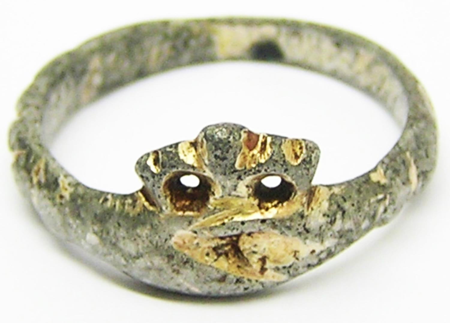 Medieval Silver Gilt Betrothal Ring Clasped Hands & Crown