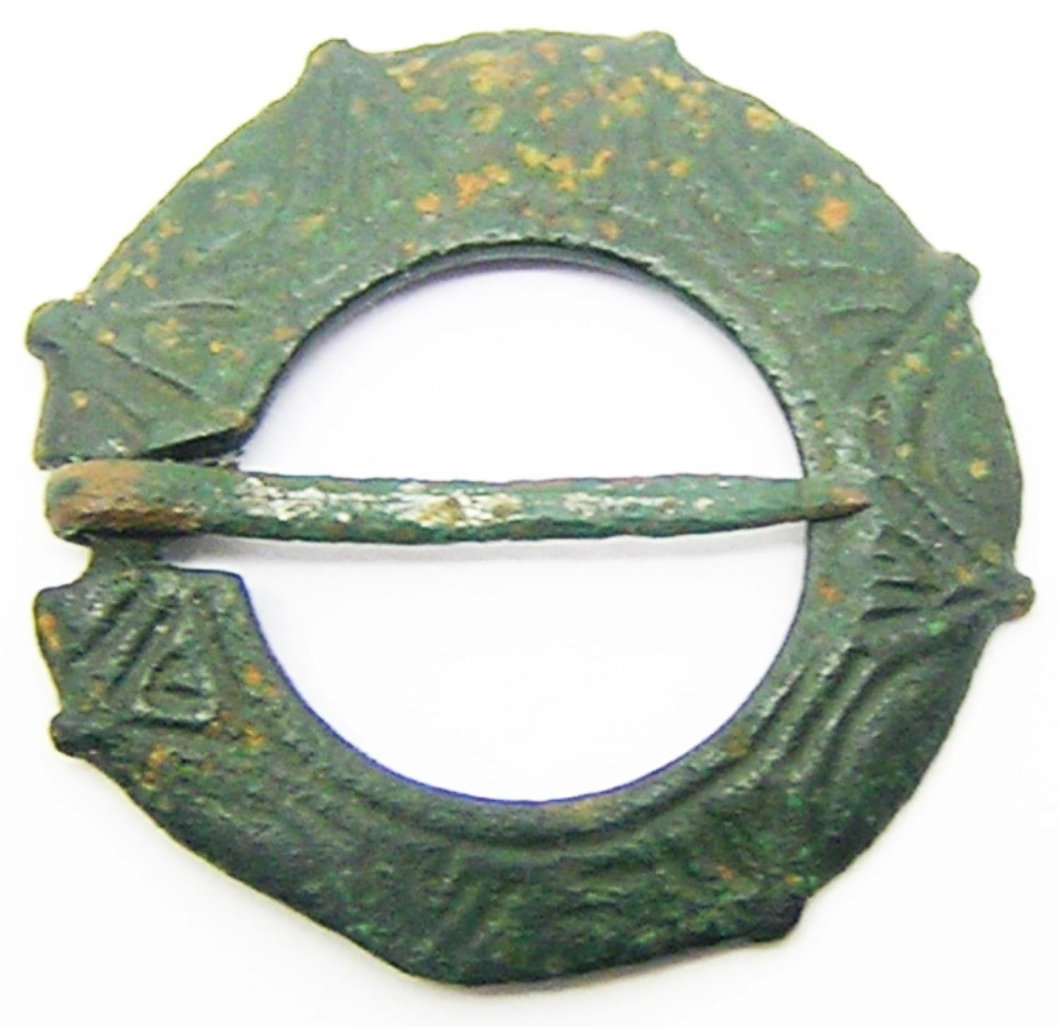 Medieval Decorated Bronze Ring Brooch