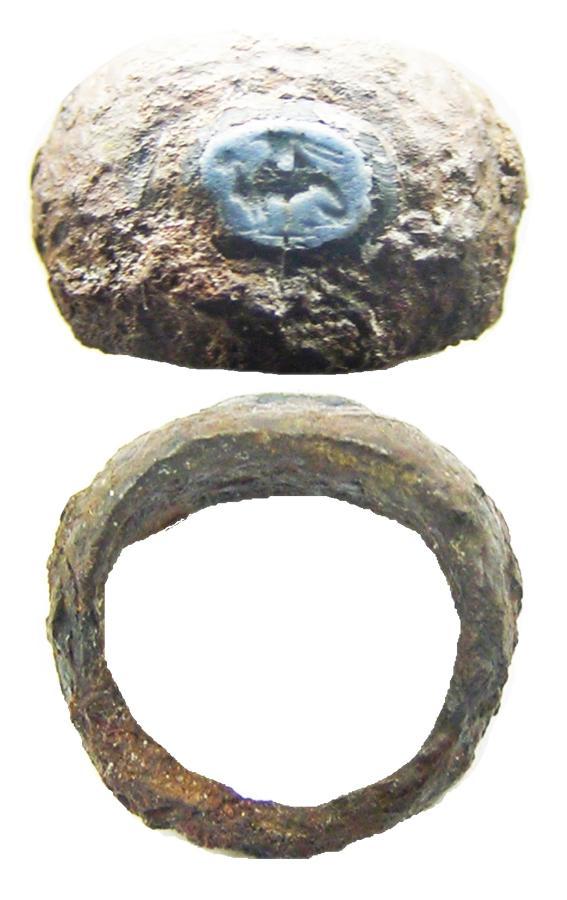 Ancient Roman Iron & Nicolo Glass Sphinx Intaglio Ring