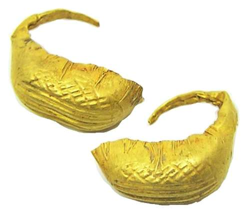 Chalcolithic Gold Basket Earrings