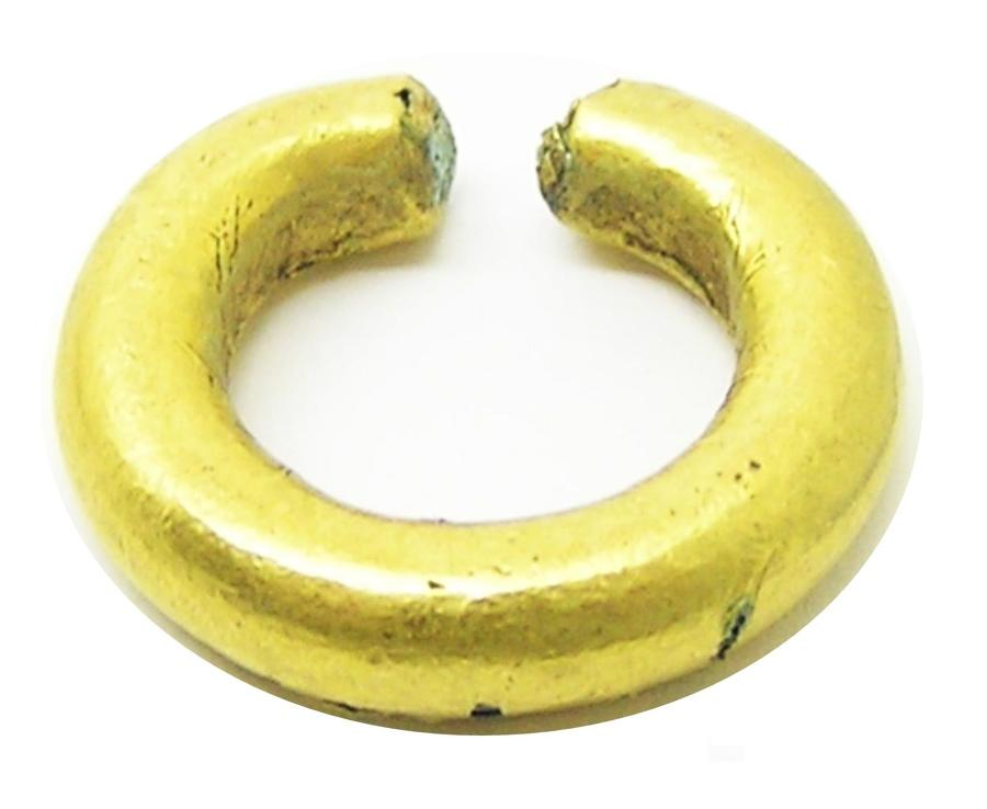 Bronze Age Decorated Gold Ring Money Adornment