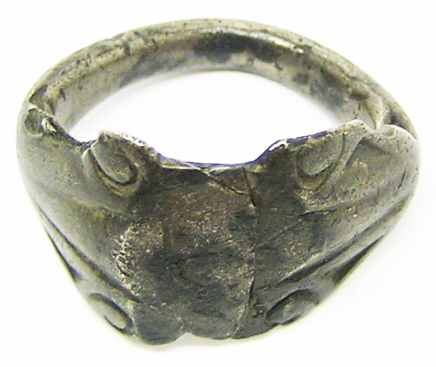 Ancient Roman Silver Finger Ring Keeled Type