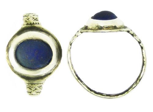 Renaissance Elizabethan Gentleman's Silver Finger Ring Sapphire Paste