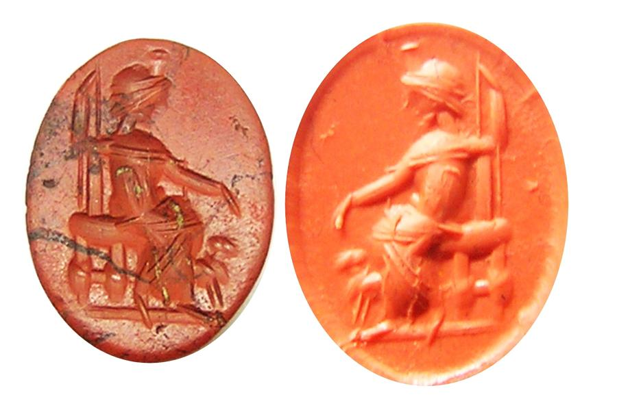 Ancient Roman Jasper Intaglio of Serapis enthroned with Cerberus