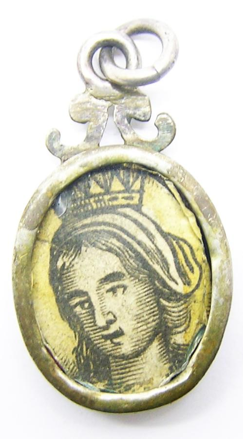 Baroque Silver Reliquary Pendant of St. Elizabeth of Aragon