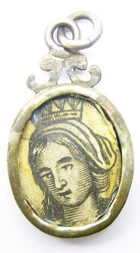 Baroque Silver Reliquary Pendant of St. Elizabeth of Aragon