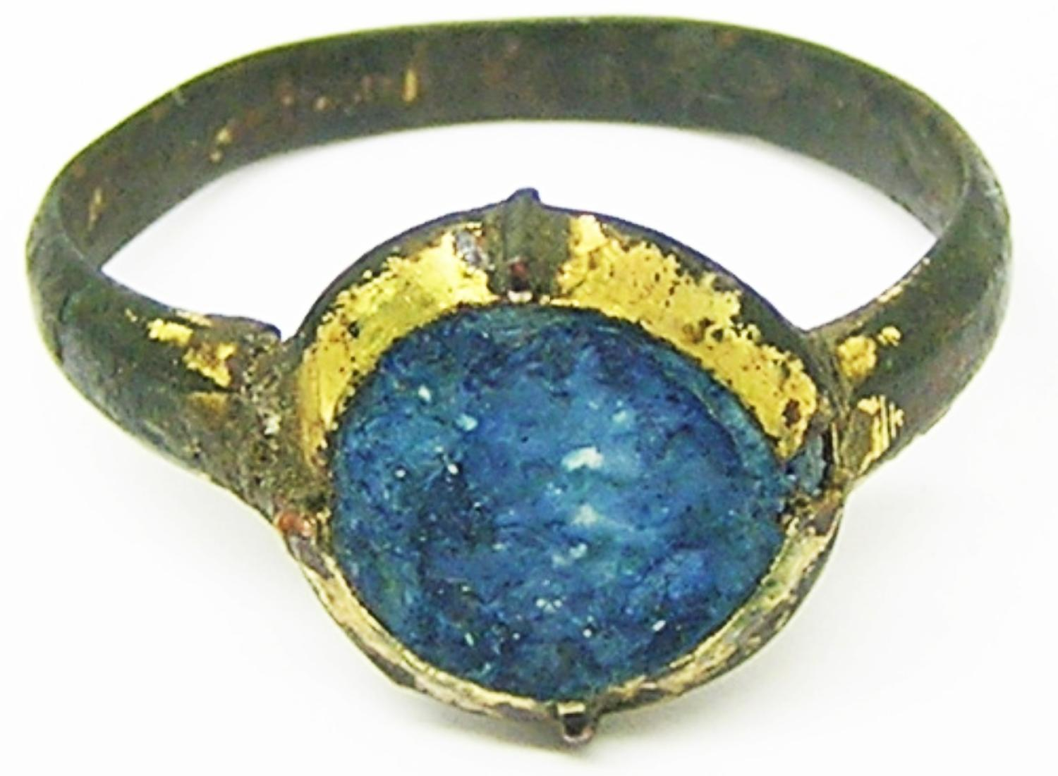 Medieval Bronze Finger Ring Sapphire Paste Gold Gilded
