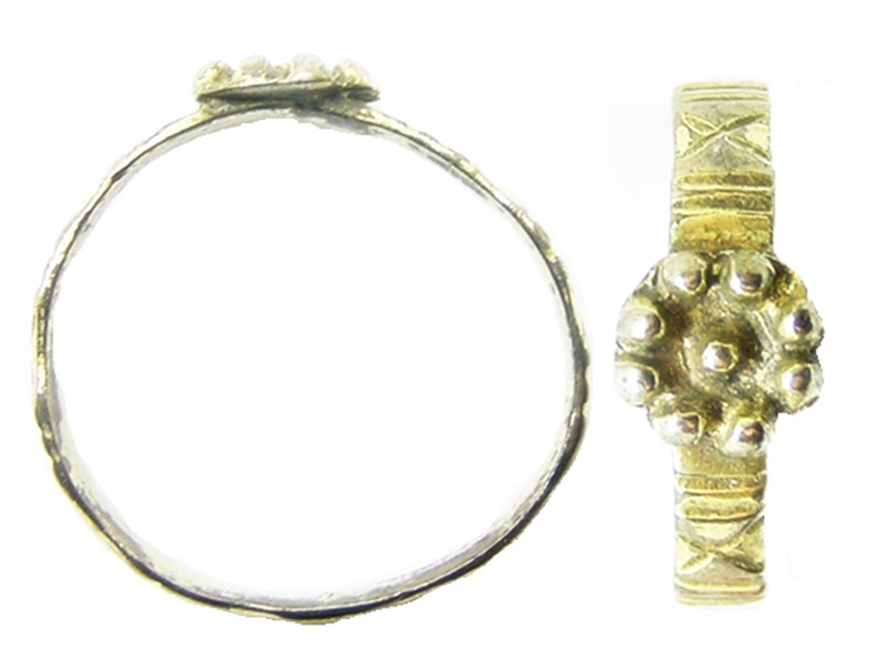 Late Medieval / Tudor Silver-gilt Rosette Finger Ring