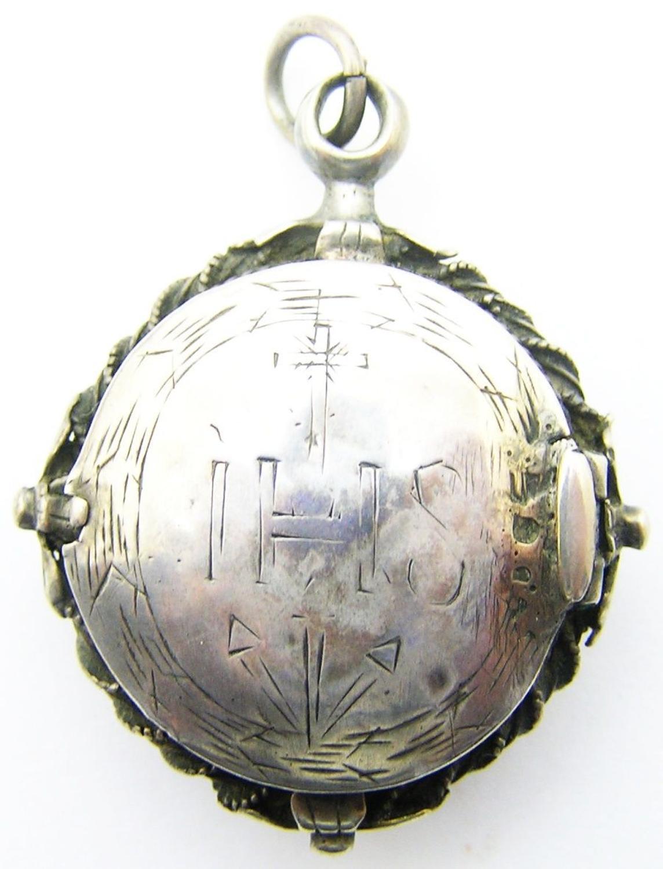 Italian Baroque Silver IHS Reliquary Pendant