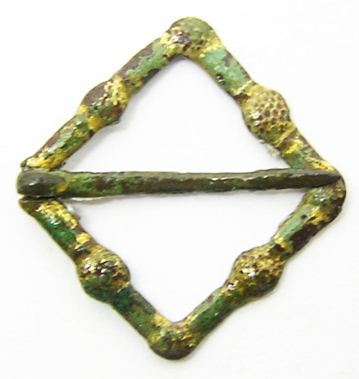 Medieval Gilt Lozenge Shaped Annular Brooch