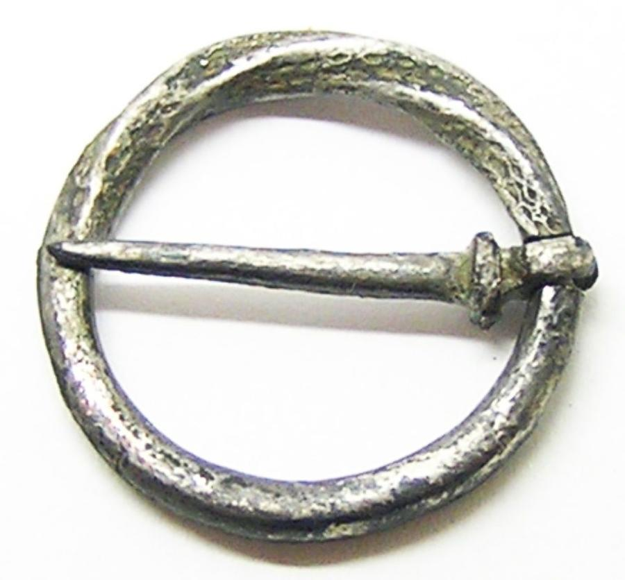 Medieval Tinned Bronze Ring Brooch