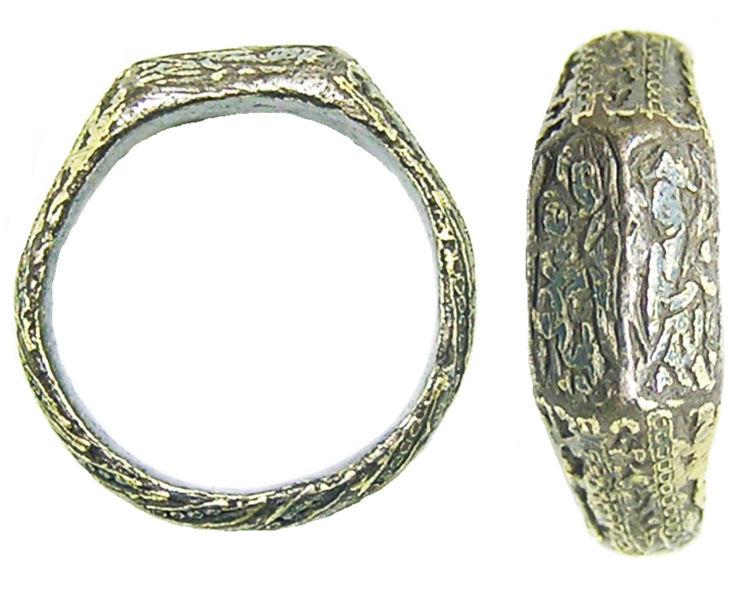 Medieval Silver Iconographic Ring Holy Family