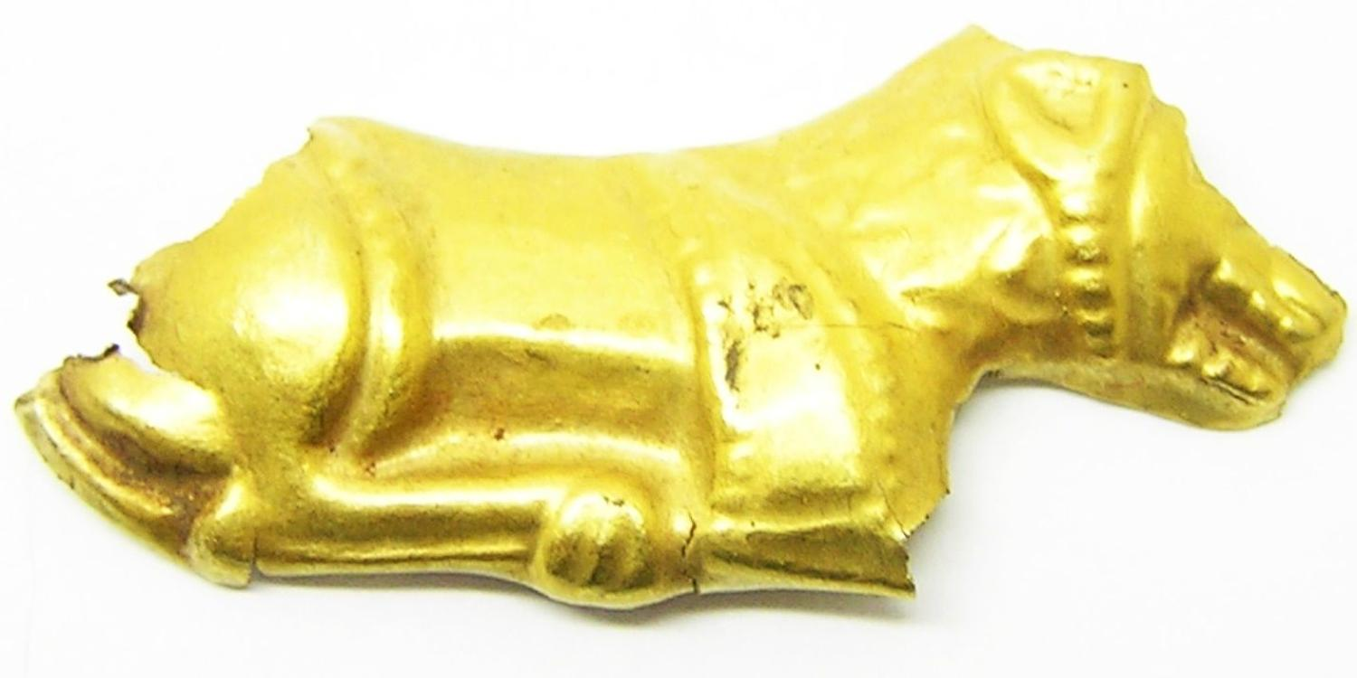 Ancient Scythian Greek Gold Reclining Lion Appliqué
