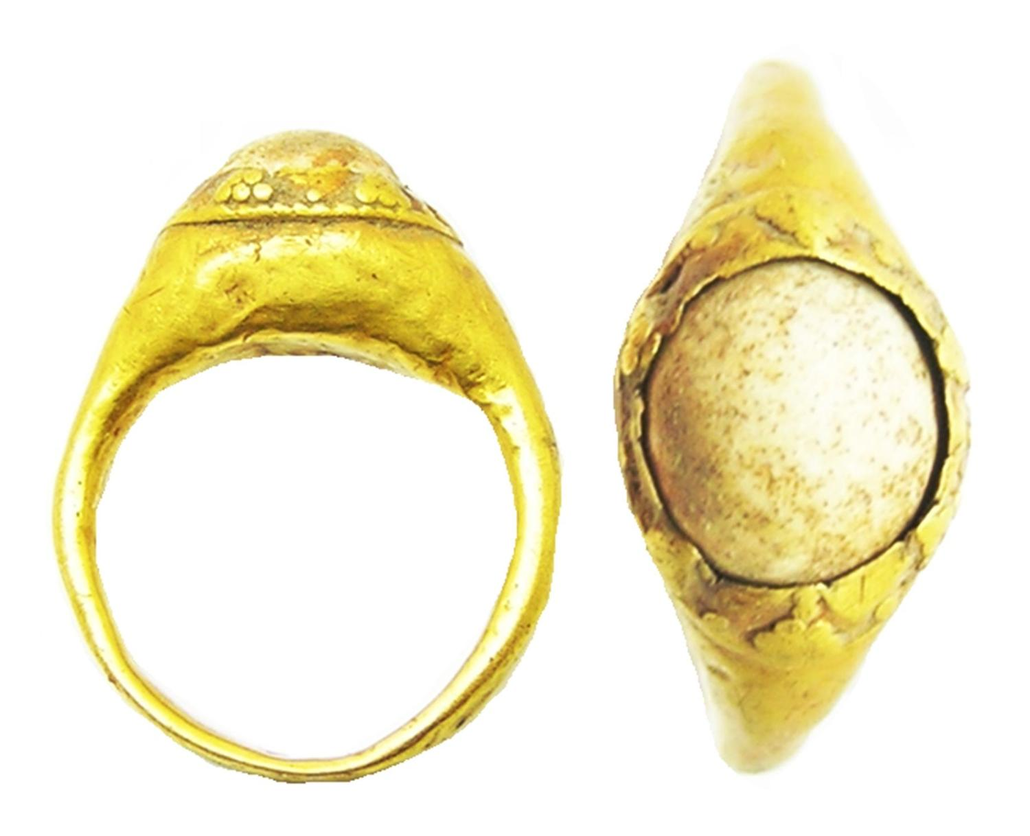 Ancient Roman Gold Finger Ring Stirrup Type Faux Pearl