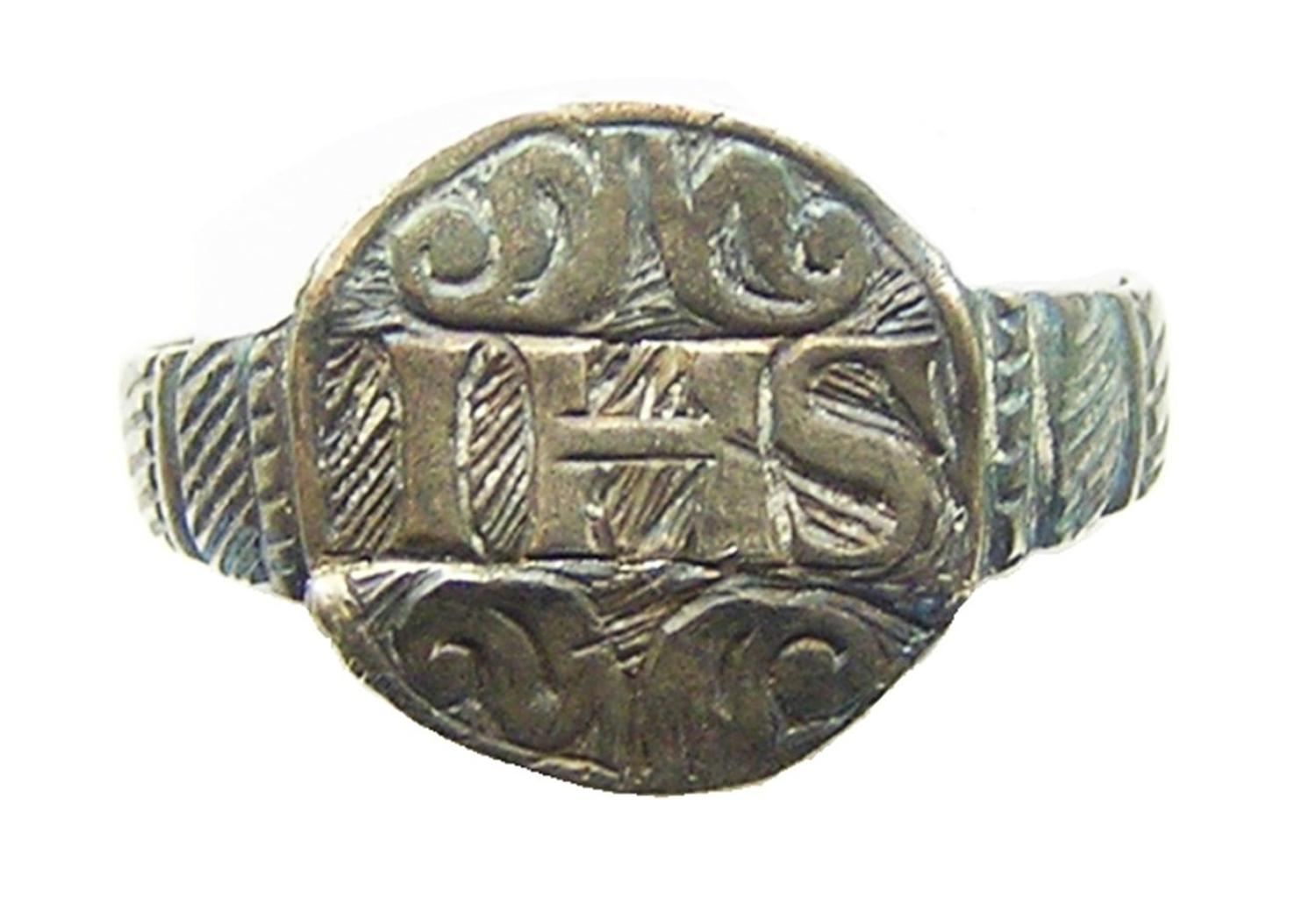Renaissance Silver Finger Ring IHS Christogram