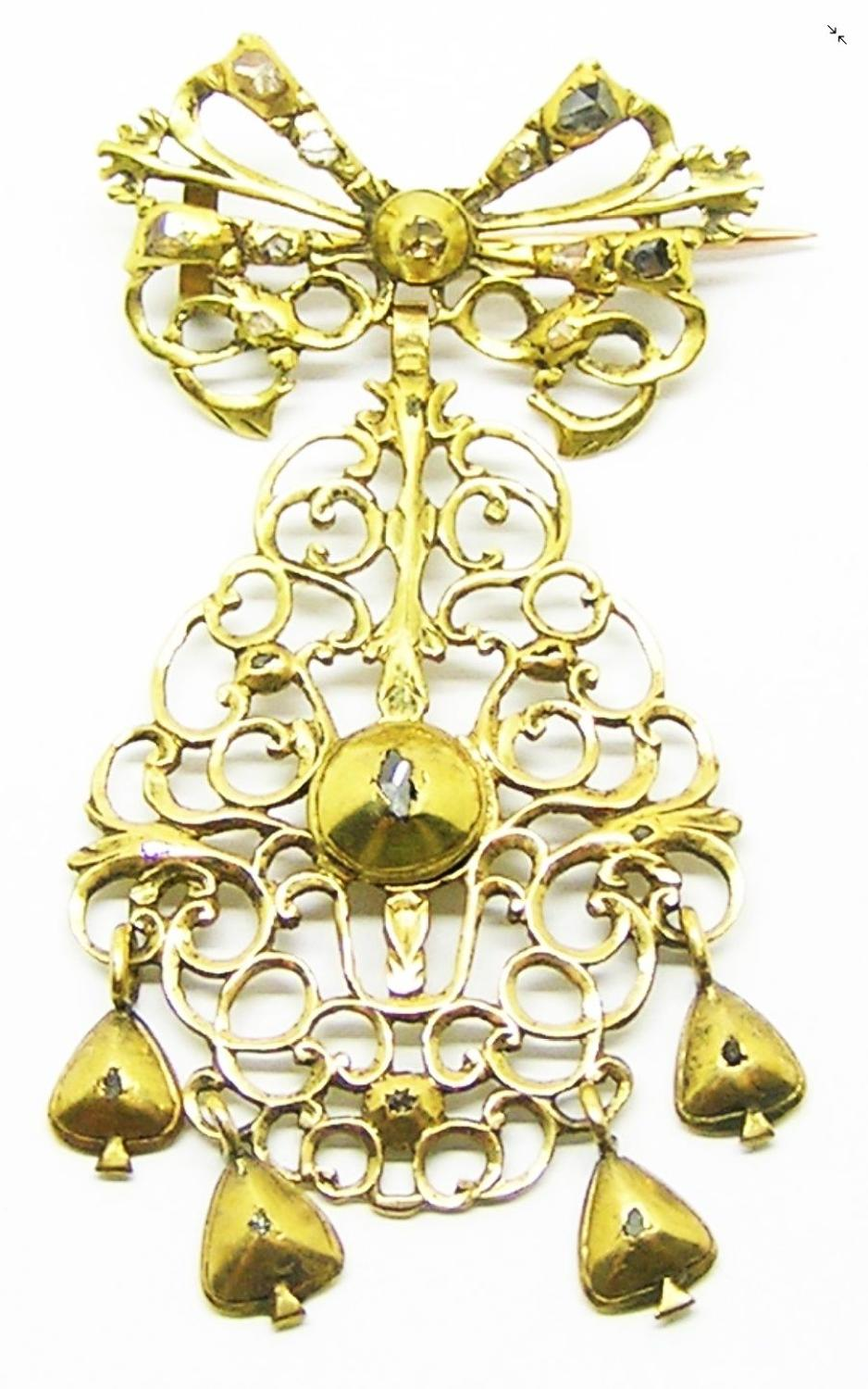 18k Gold Iberian Baroque Sequile Bodice Jewel