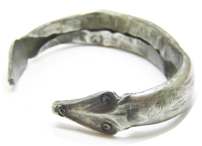Ancient Roman silver spiral snake bracelet