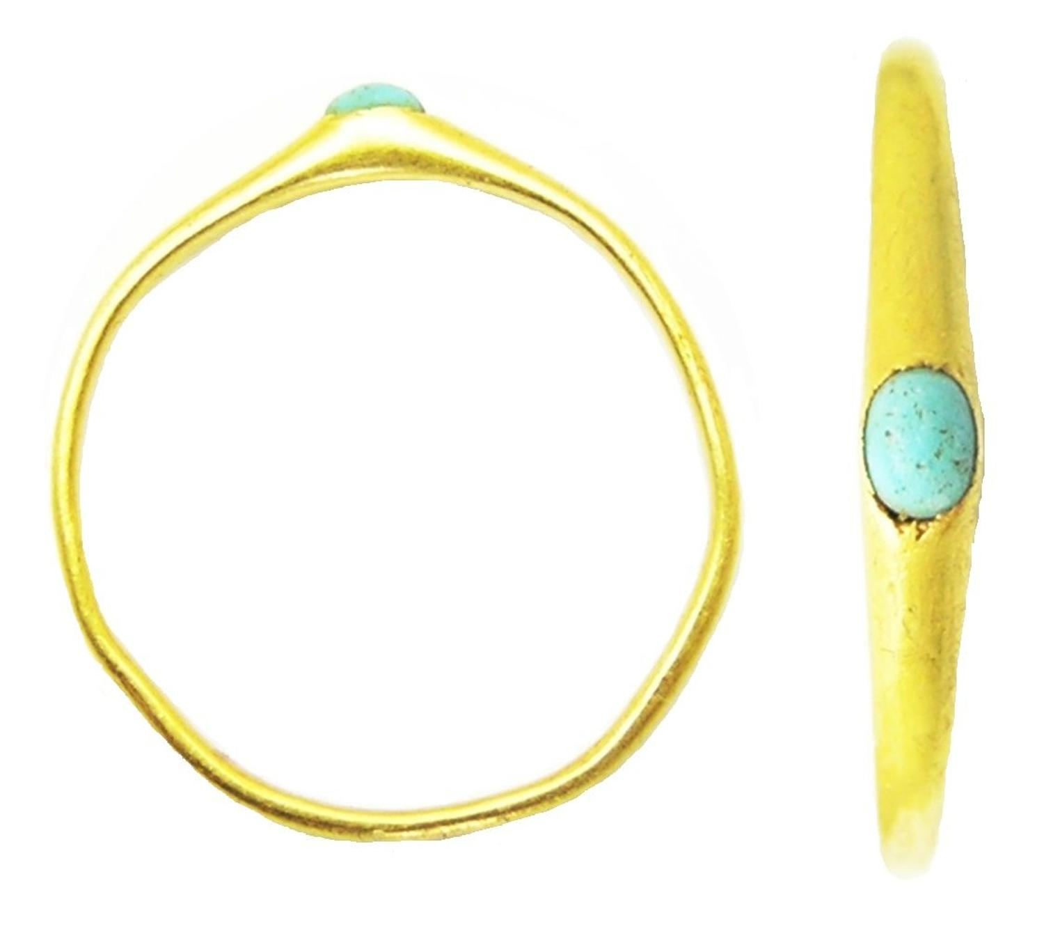 Medieval gold stirrup ring turquoise gemstone