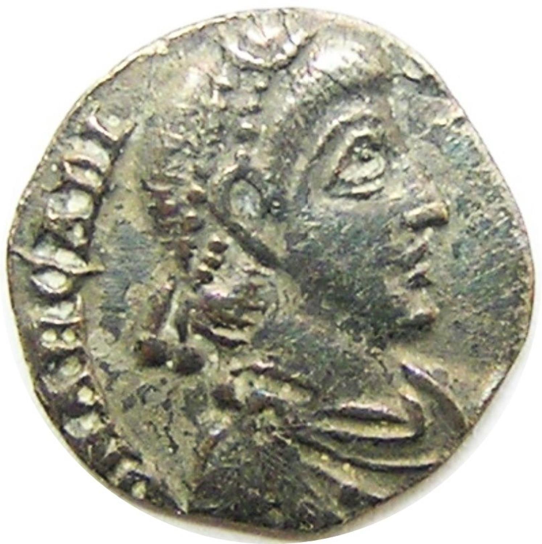 Roman silver siliqua of Emperor Arcadius Milan mint