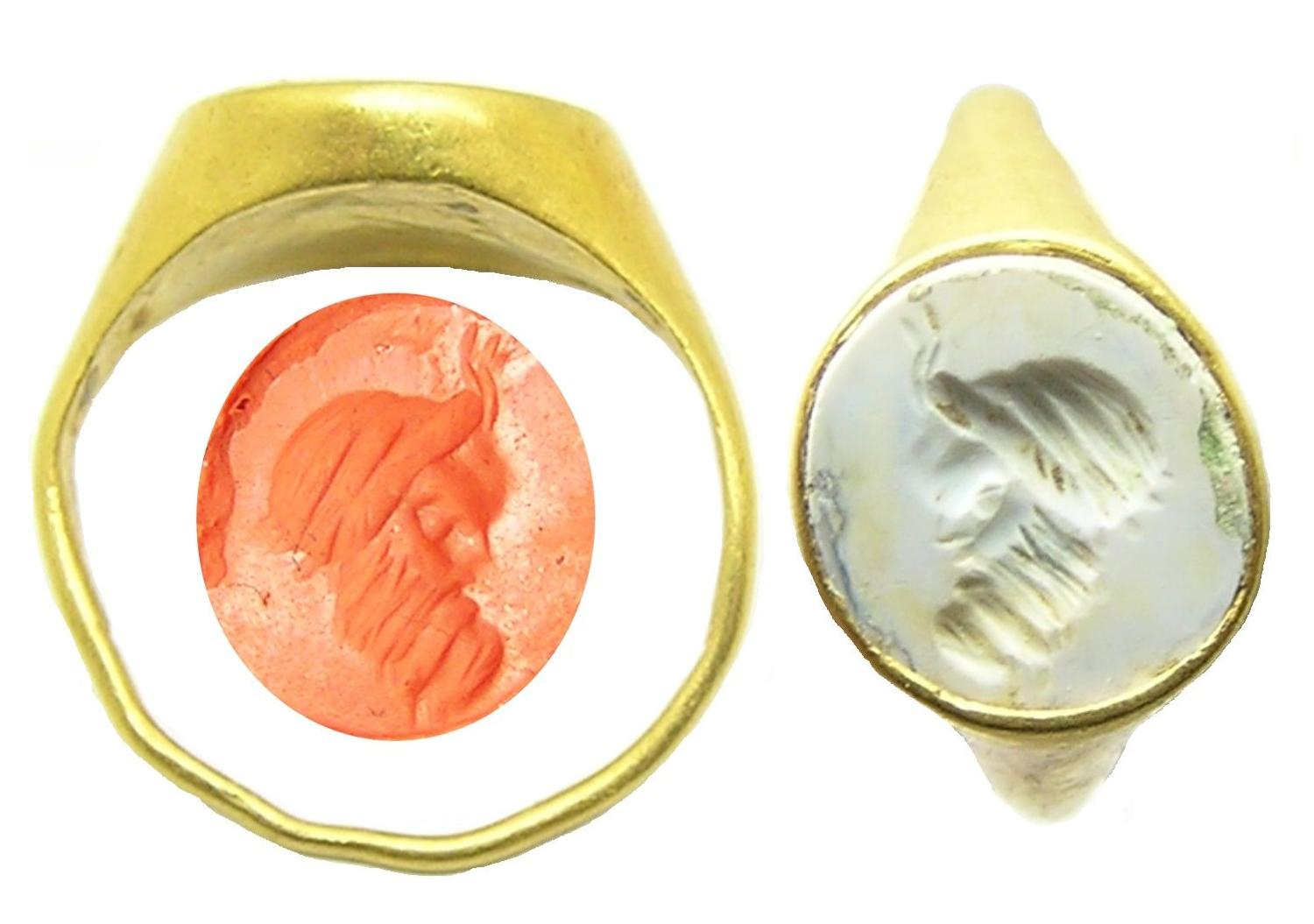 Roman gold intaglio ring of a Faunus