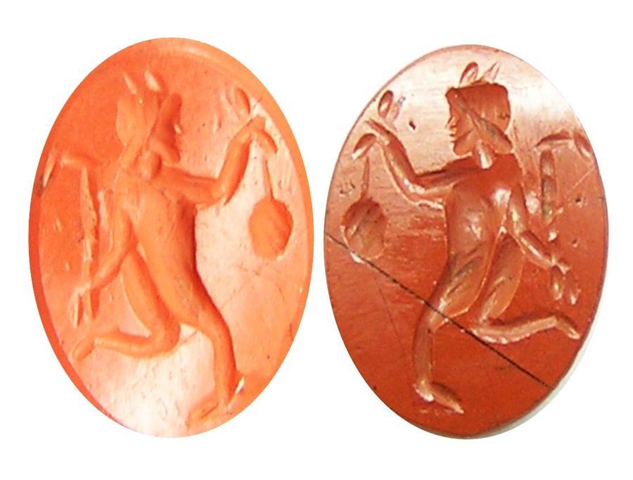 Roman red jasper intaglio of a running Faun