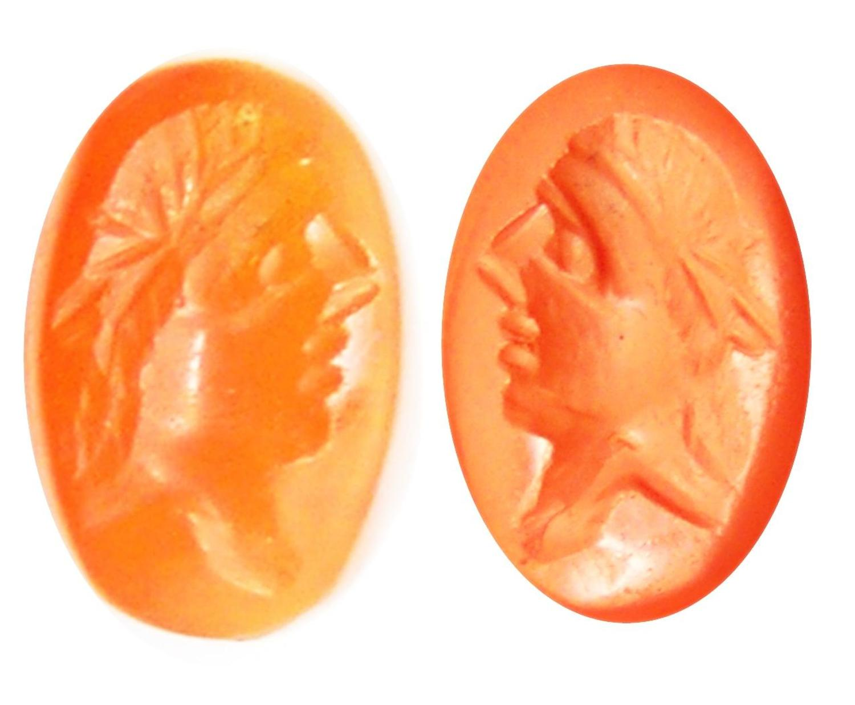 Roman portrait intaglio in a carnelian gemstone