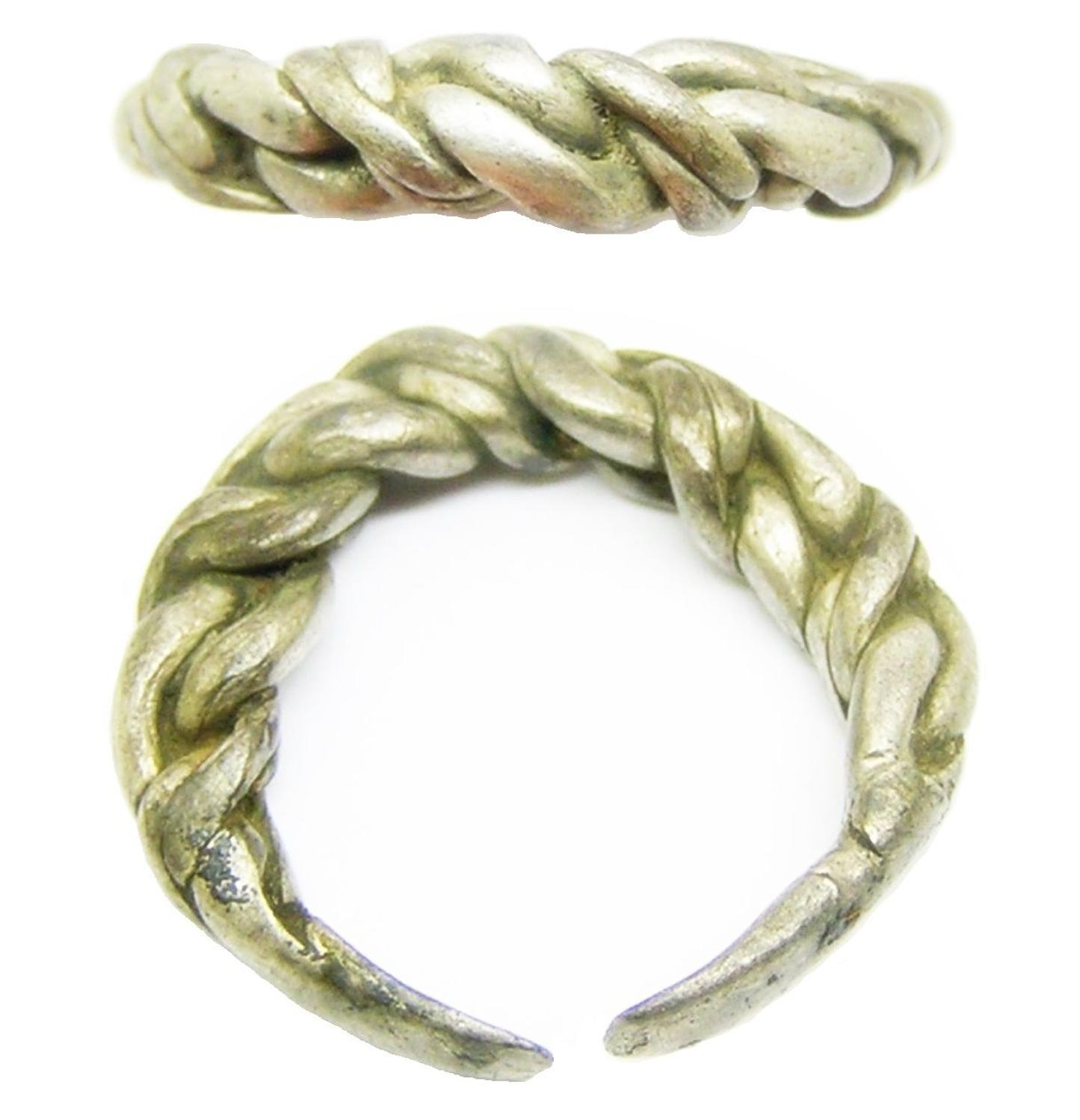 Viking Scandinavian braided silver finger ring