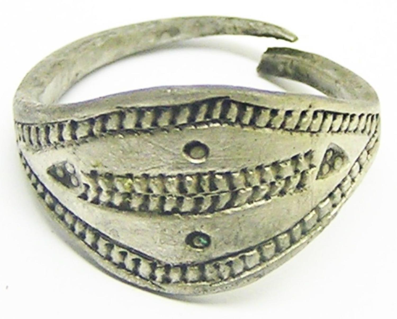 Ancient Scandinavian Viking Silver Lozengiform Finger Ring