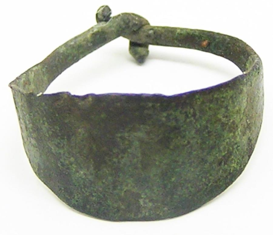 Ancient Scandinavian Viking copper-alloy lozengiform finger ring