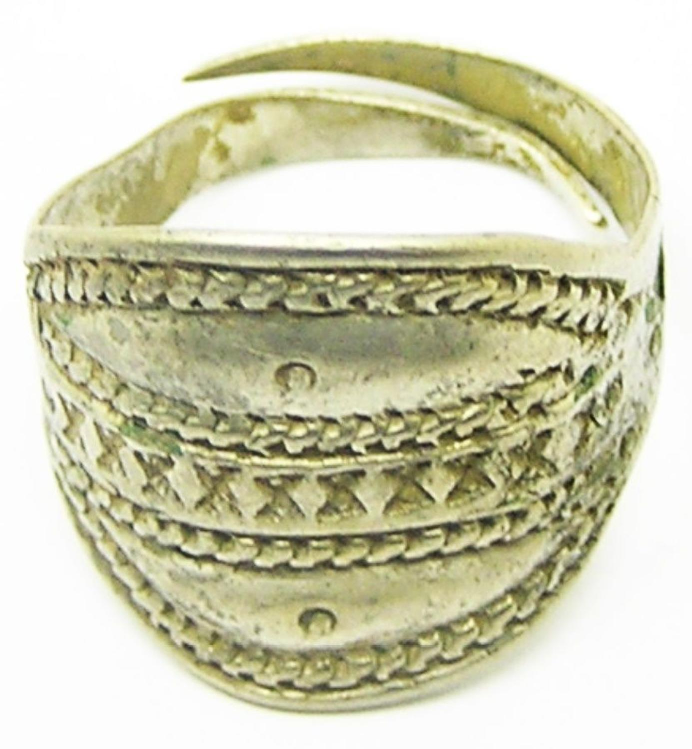 Ancient Scandinavian Viking punched scutiform finger ring