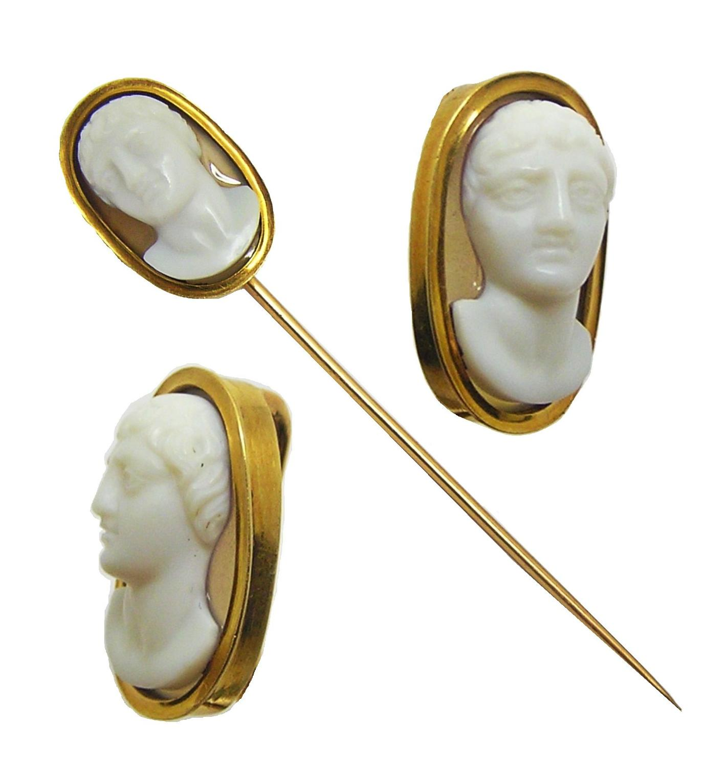 Georgian Neoclassical hardstone cameo stick pin of Constantine