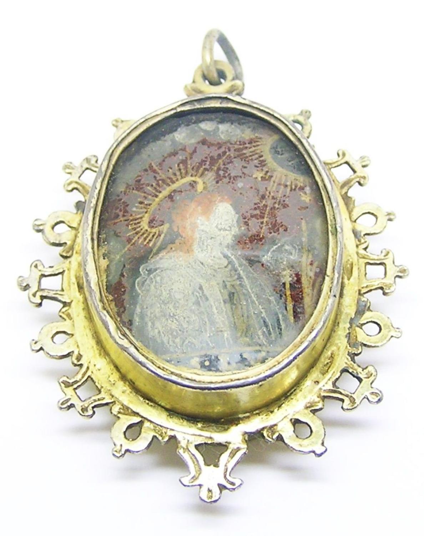 Renaissance silver-gilt églomisé reliquary pendant Saint Lucy