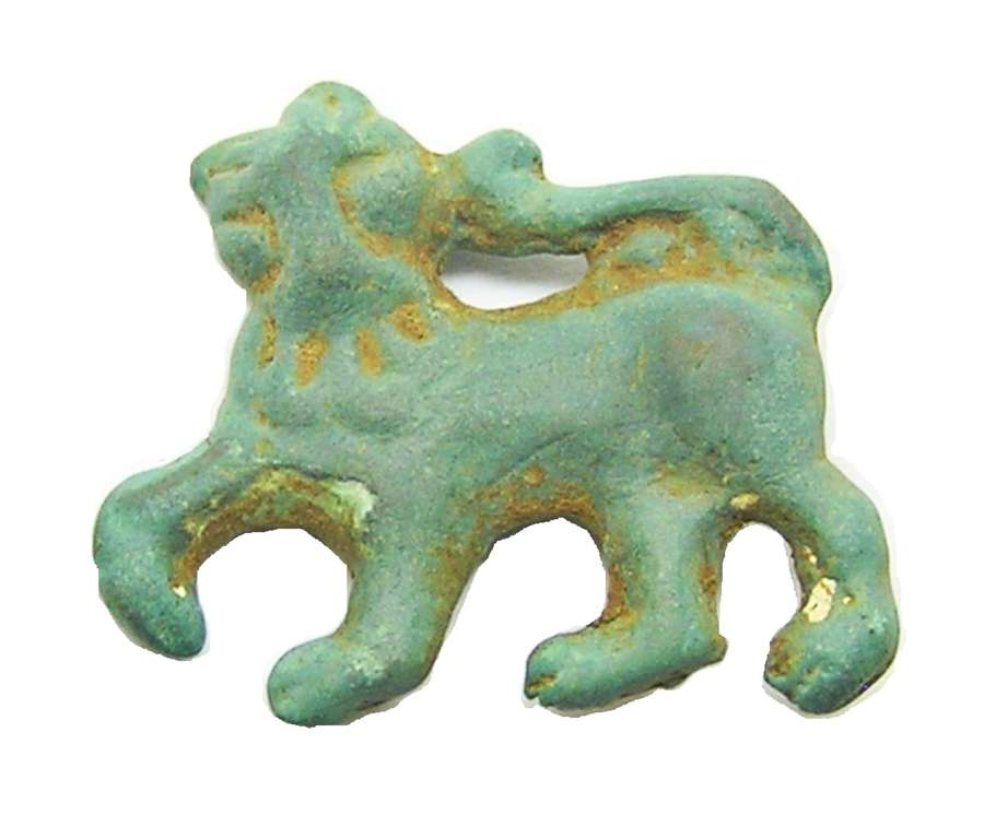 Medieval bronze lion retainers badge