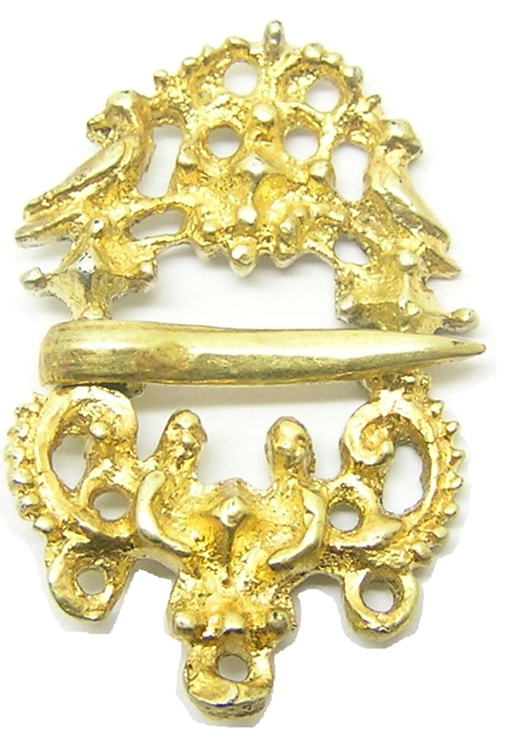 Renaissance silver-gilt brooch with 'love birds'
