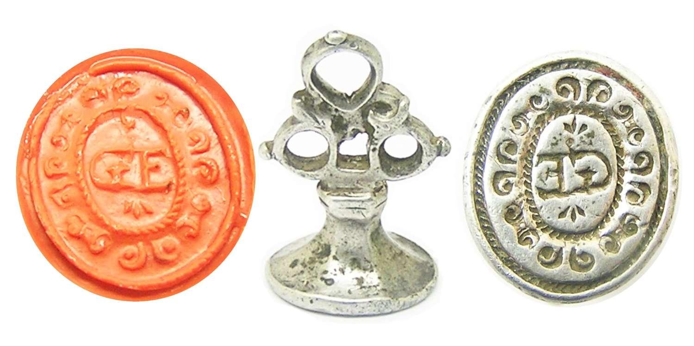 Jacobean silver seal matrice G.E. initials