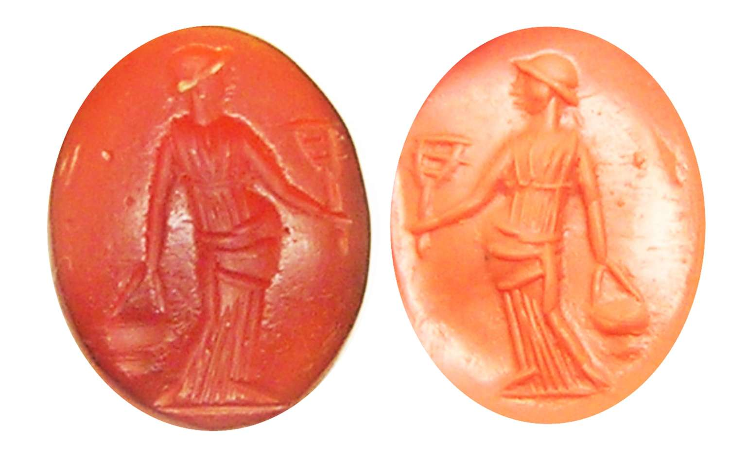 Ancient Roman Carnelian Intaglio of Isis with a Sistrum