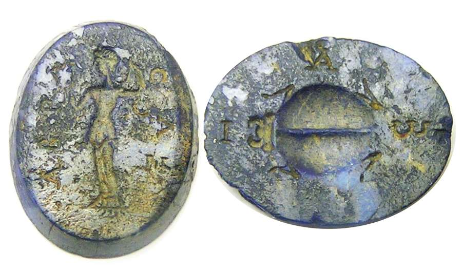 Ancient Roman Gnostic Magical Gem Lapis-Lazuli Aphrodite Anadyomene